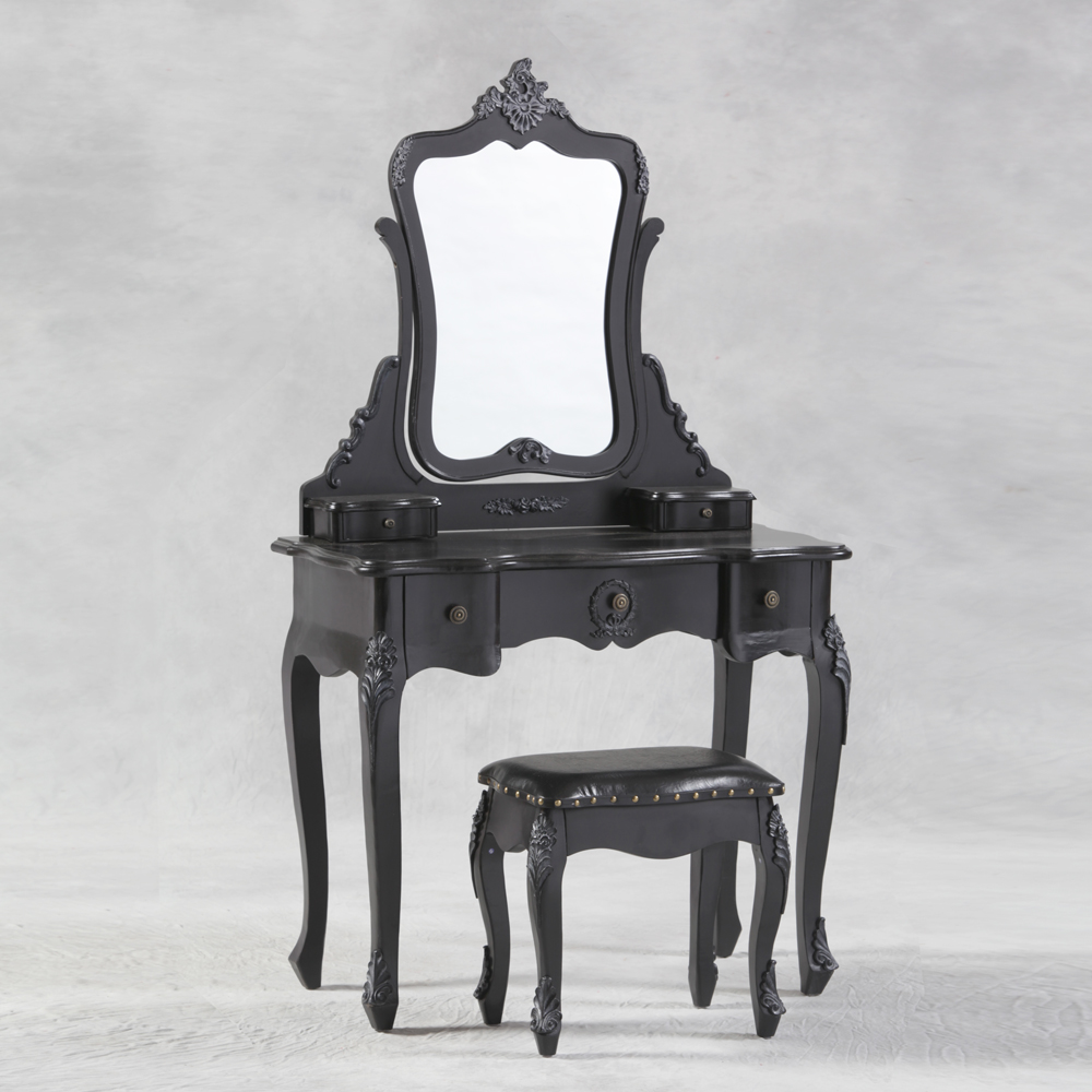 French Style Antique Black Dressing Table, Mirror and Stool Set