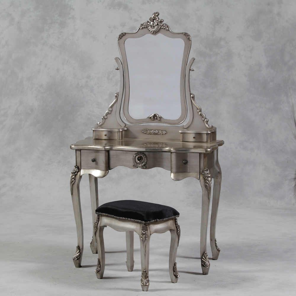 Silver Leaf Small French Style 3pc Dressing Table Set