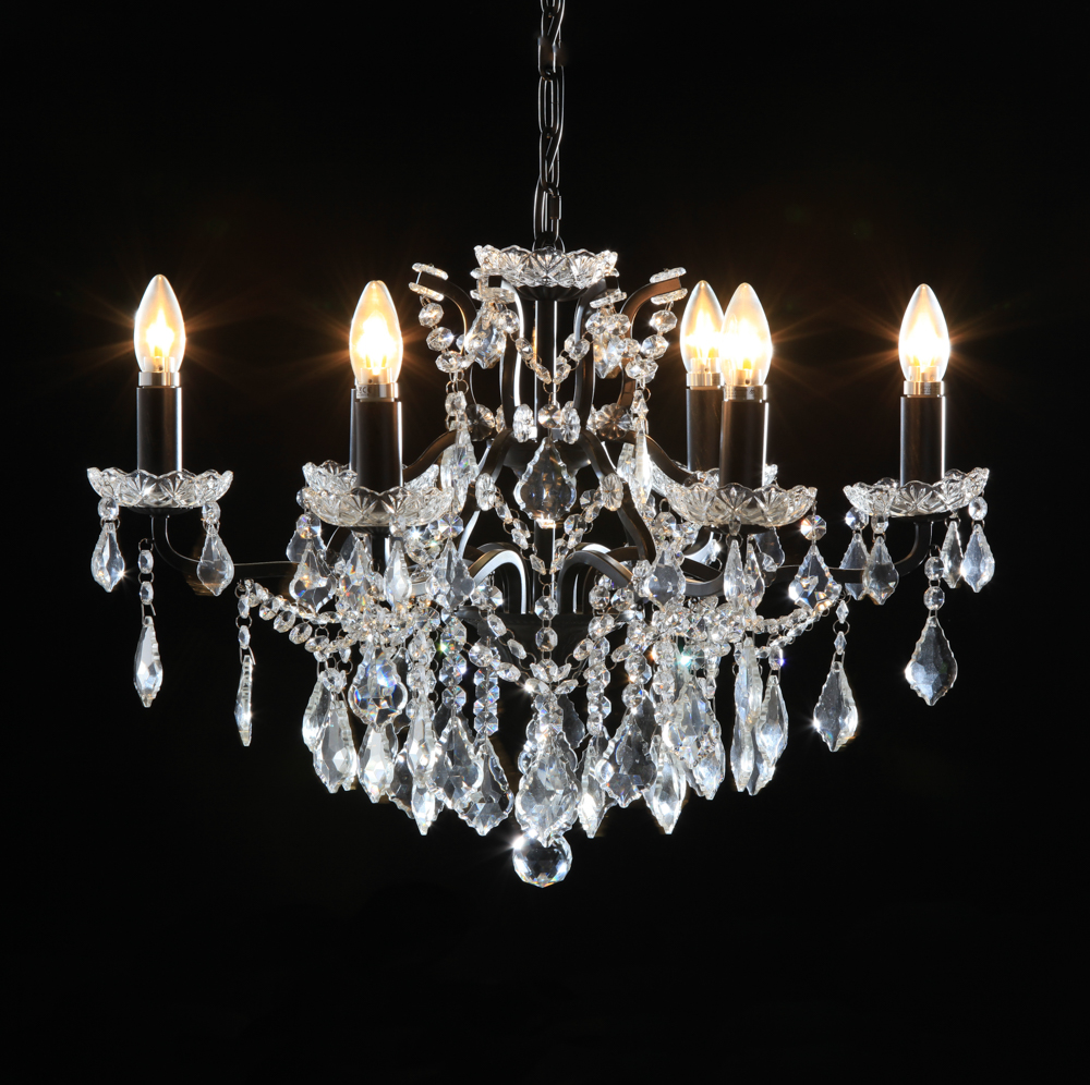 Cut glass chandeliers shades of elegance black 6 branch shallow chandelier mozeypictures Images